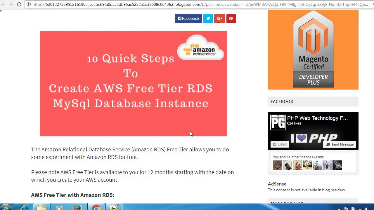 10 Quick Steps To Create Amazon Free Tier RDS MySql Database Instance