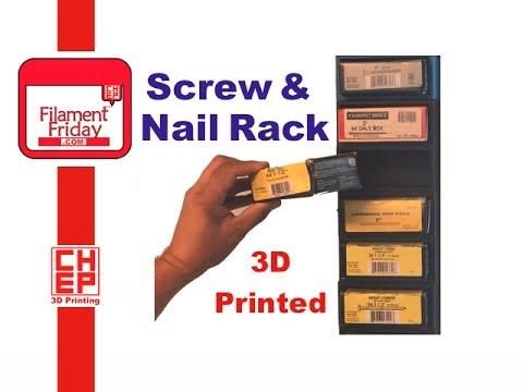 Screw And Nail Fastener Organizing Storage Rack - 3D Printed