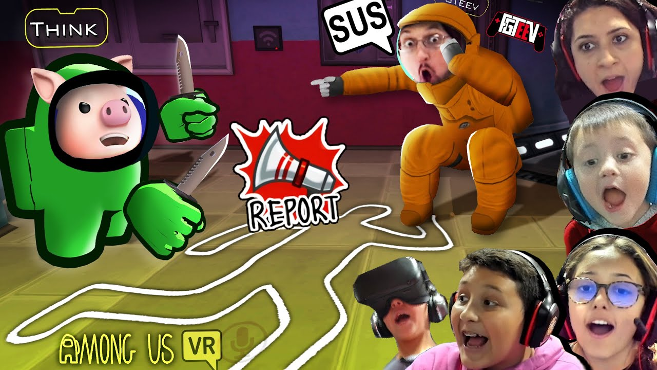 Download AMONG US in VR CHAT!   Virtual Reality is SUS!  (FGTeeV 1st Person Gameplay)