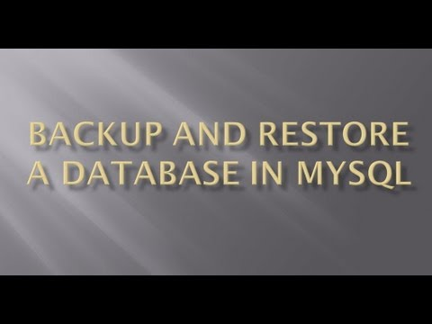 Backup and restore a database in MySQL