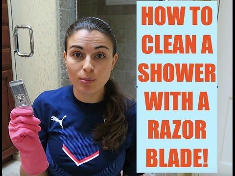 Razor Blade Cleaning - Glass Shower Door!