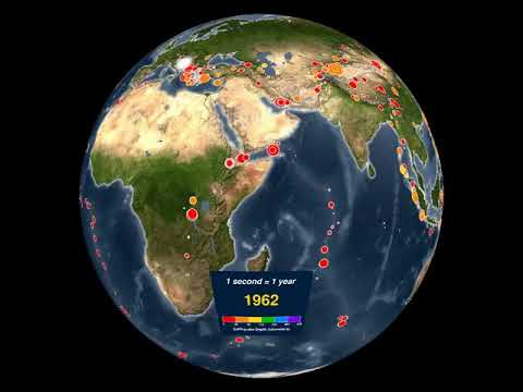 This animation shows all recorded earthquakes from 1901 - 2000.