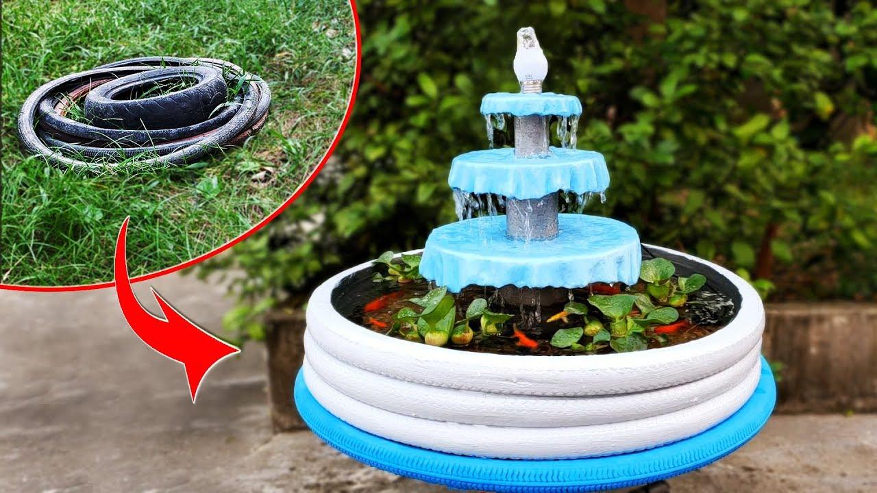 Wie man einen fantastischen Aquariumbrunnen mit Fahrradreifen herstellt