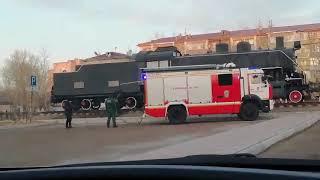 Американский паровоз подожгли в центре Краснокаменска