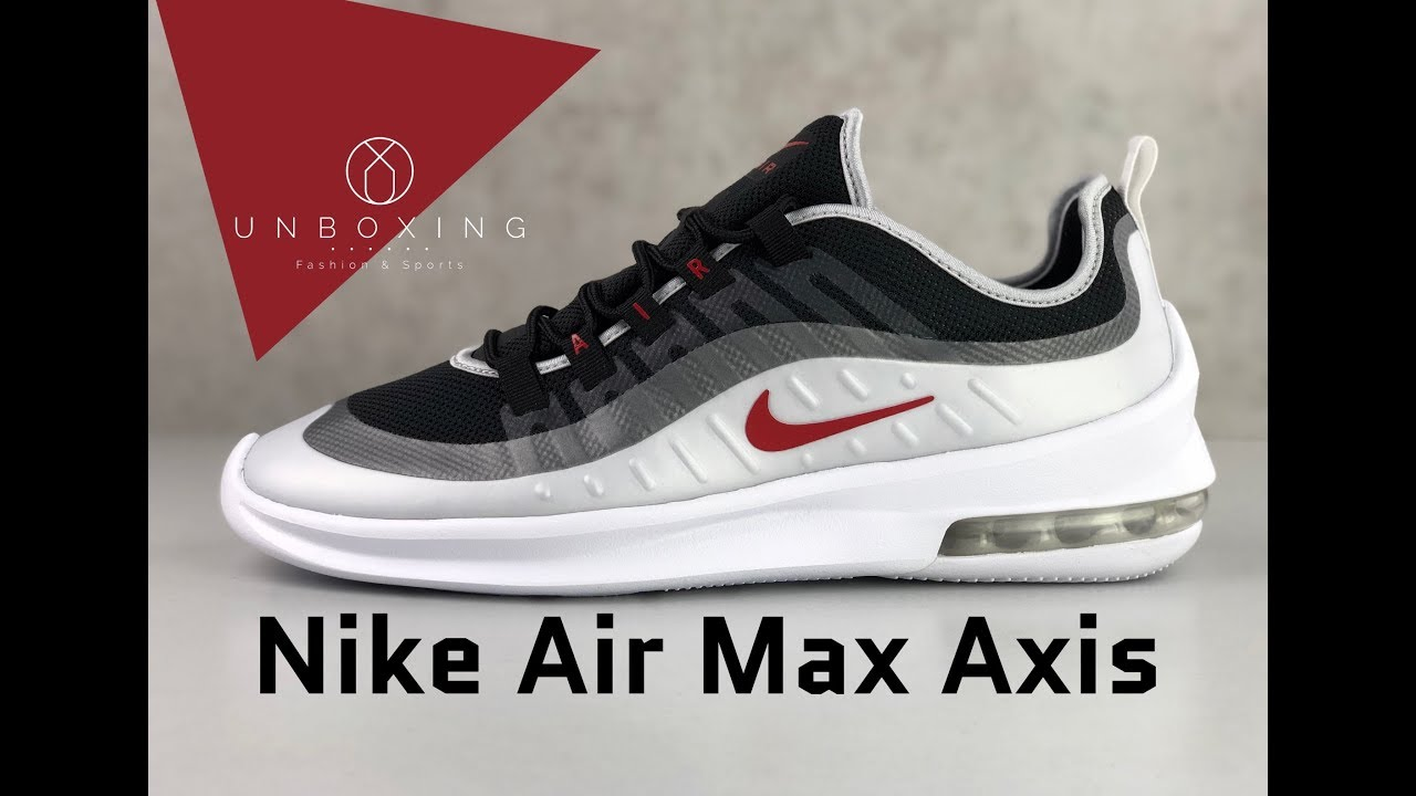 Preferencia ángel Hambre  Nike Air Max Axis 'Black/Sport-red mtlc platinum' | UNBOXING & ON FEET |  fashion shoes | 2019 - YouTube