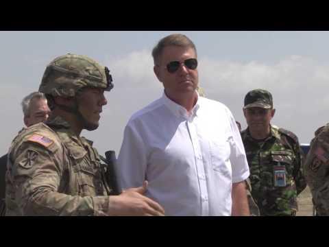 President of Romania visits US troops at MK Air Base, Romania