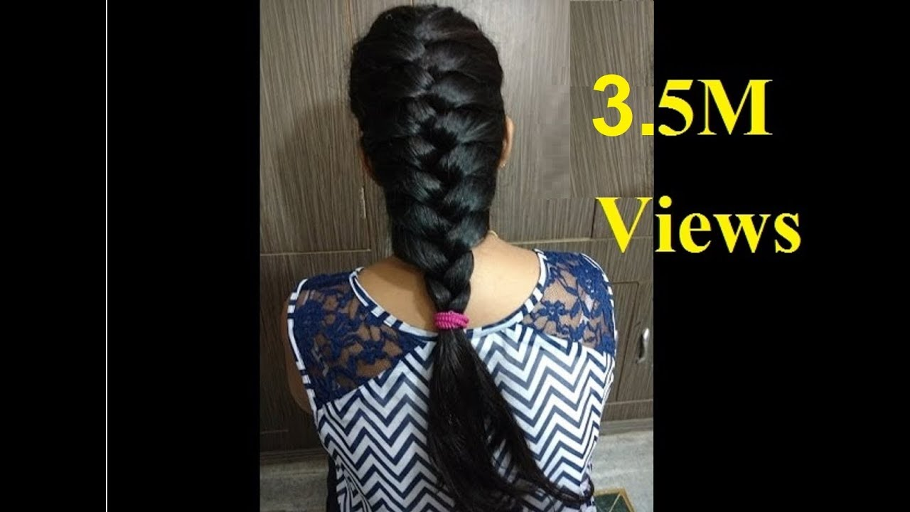 french hair style - hindi    how to do easy french braid hairstyle with  puff tutorial - 2018