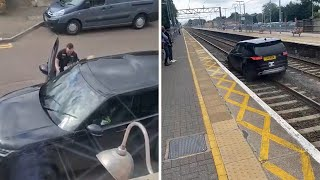 video: Watch: Stolen Land Rover driven along railway tracks during police chase