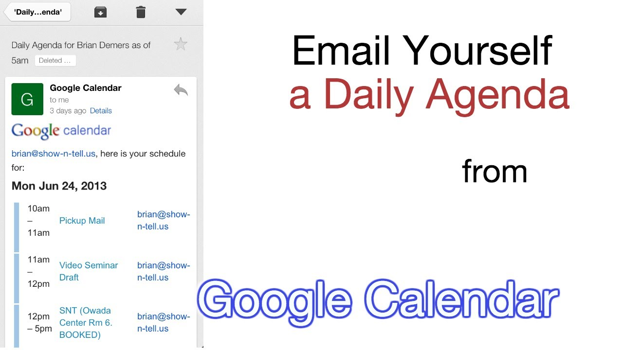 Email Yourself a Daily Agenda from Google Calendar YouTube – Daily Agenda