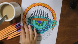 Coloring for Coffee Lovers Adult Coloring Book Walk-through