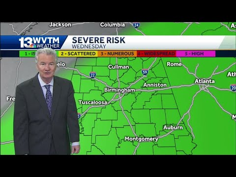 Severe Weather Risk For All Of Central Alabama Wednesday