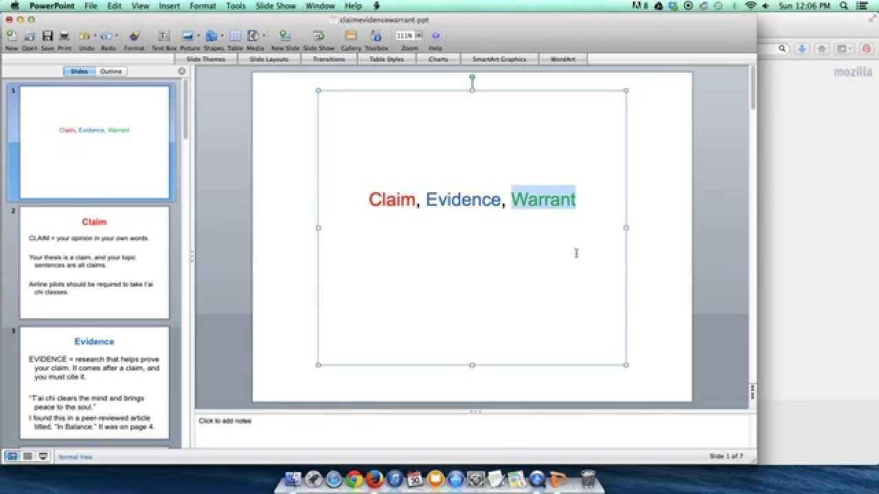 Claim Evidence Warrant Youtube