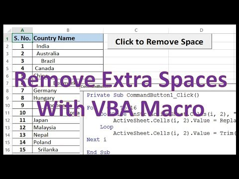 VBA to Remove Extra Spaces from Cells - Excel VBA Example by Exceldestination