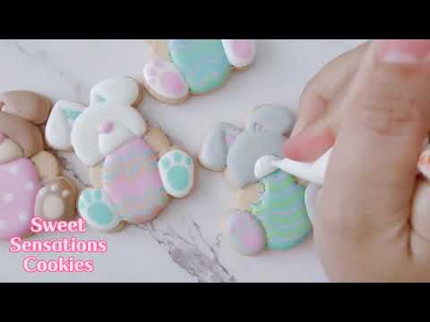 Easter bunny with Egg Cutter cookie decorating video by Sweet Sensations Cookies