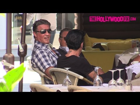 Sylvester Stallone Hangs Out With Friends After Lunch In Beverly Hills 8.27.15 - TheHollywoodFix.com