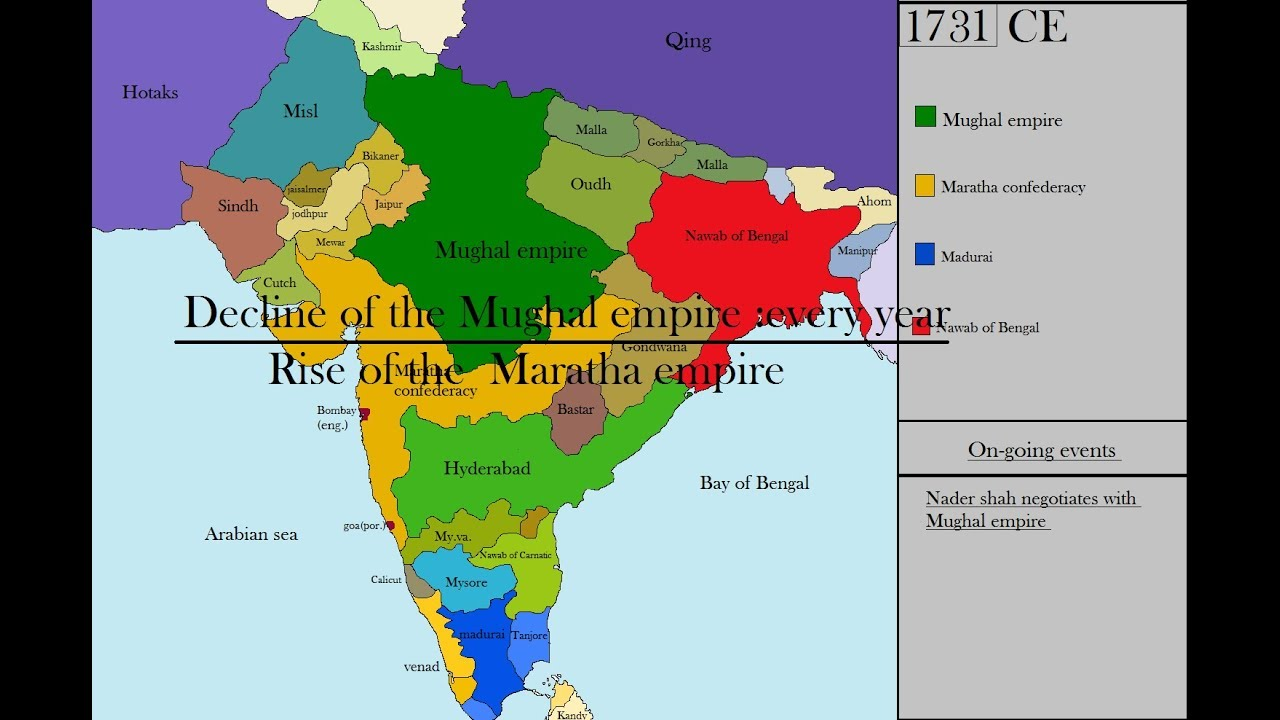 Decline Of The Mughal Empire Every Year 1658 1739 Youtube