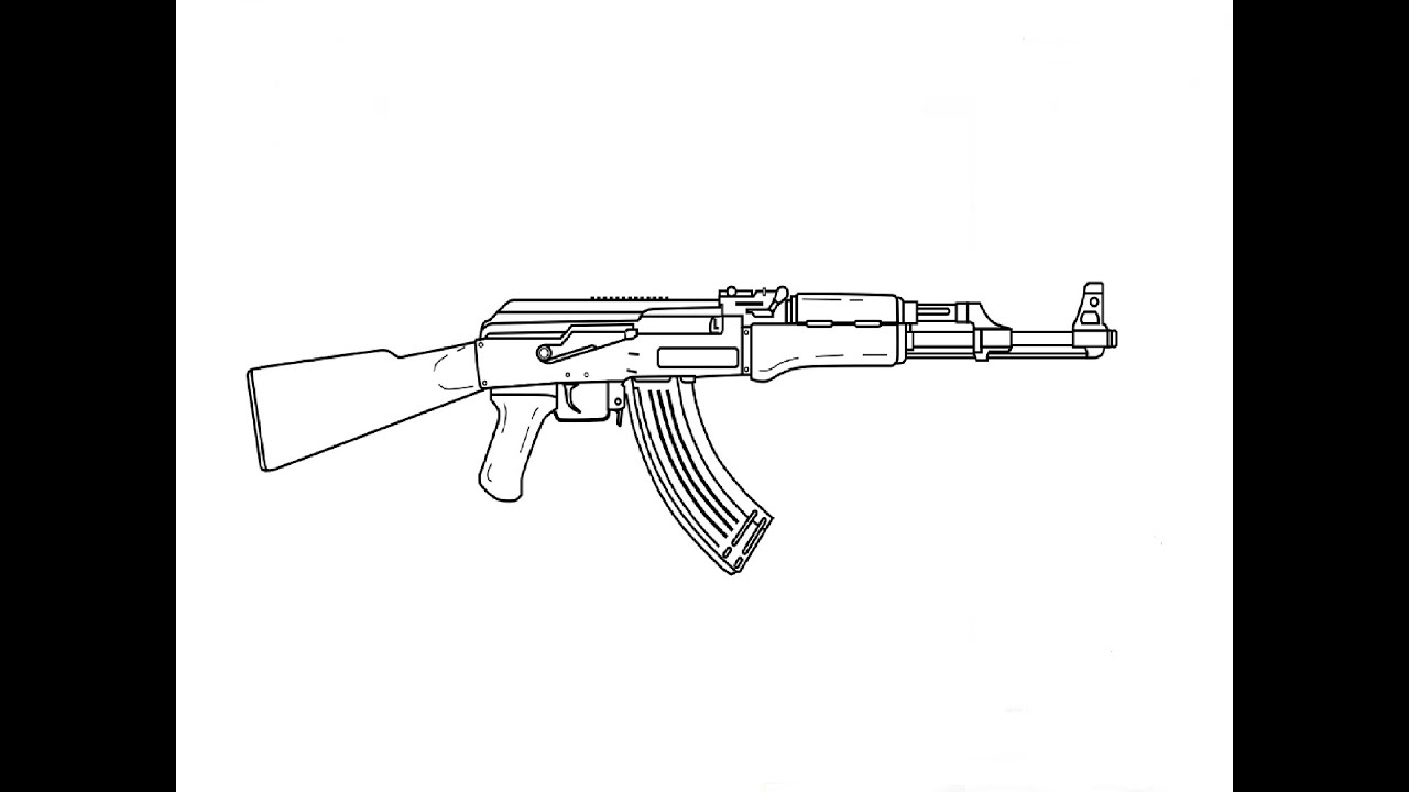 It is an image of Divine Drawing Of Ak 47