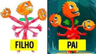 Pais Transformaram os Desenhos dos seus Filhos em Obras De Arte