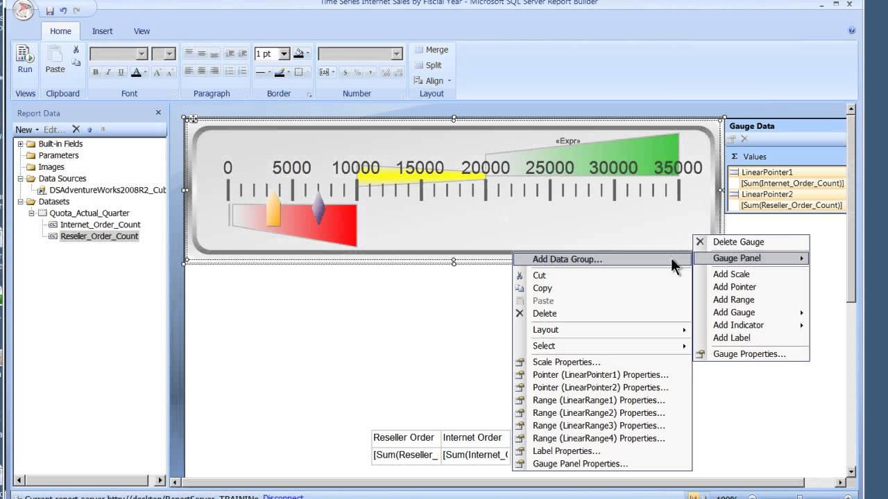 SQL Report Builder 3 0 Gauges in SSRS 2008 R2