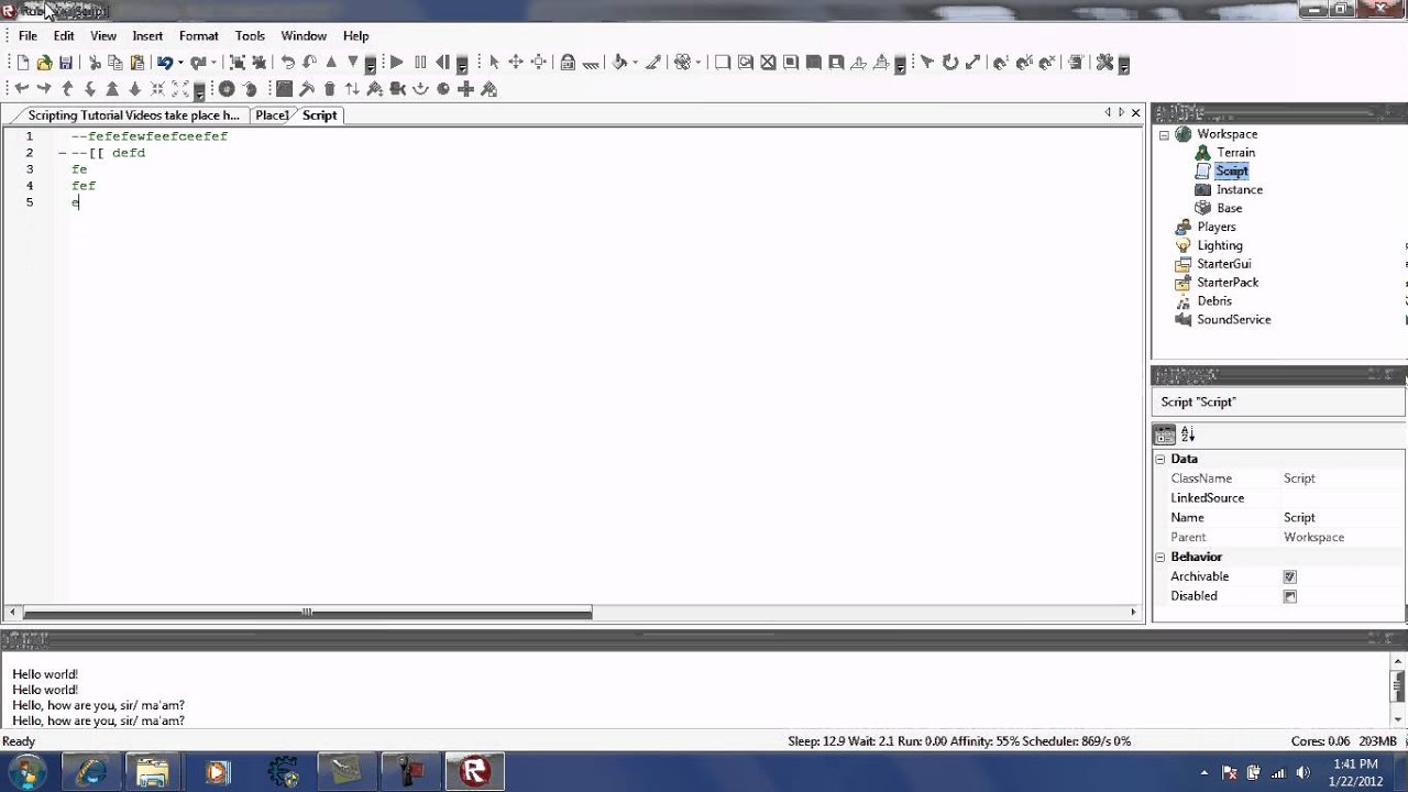 Roblox Scripting Tutorial Part 2 Prints And Comments Youtube