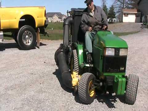 John Deere 445 Mower Power Bagger Youtube