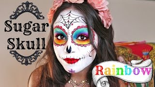 Rainbow Sugar Skull Tutorial for Halloween ♡ Thumbnail