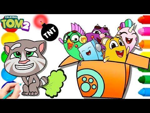 My Talking Tom 2 Tom Pets Squeak Dot Flip Sugar Gus Drawing Coloring | Talking Tom 2 Nursery Rhymes