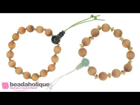 How to Make a Meditation Bracelet with Aromatic Wood Beads and a Gemstone Guru Bead