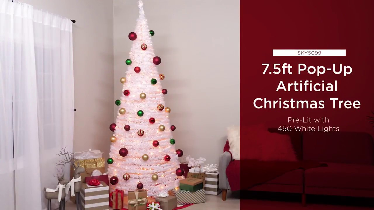 SKY5099 7.5ft Pre-Lit Pop-Up Artificial Christmas Tree
