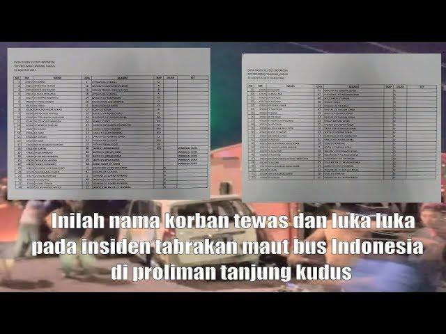 inilah nama korban tewas dan luka pada insiden tabrakan maut bus Indonesia di proliman tanjung kudus
