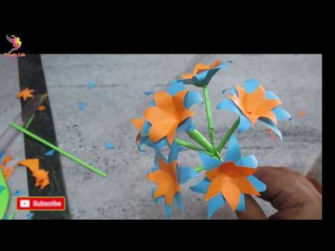 DIY: Paper Flower Stick/How to make stick paper flower very easy at home/Easy Paper Crafts