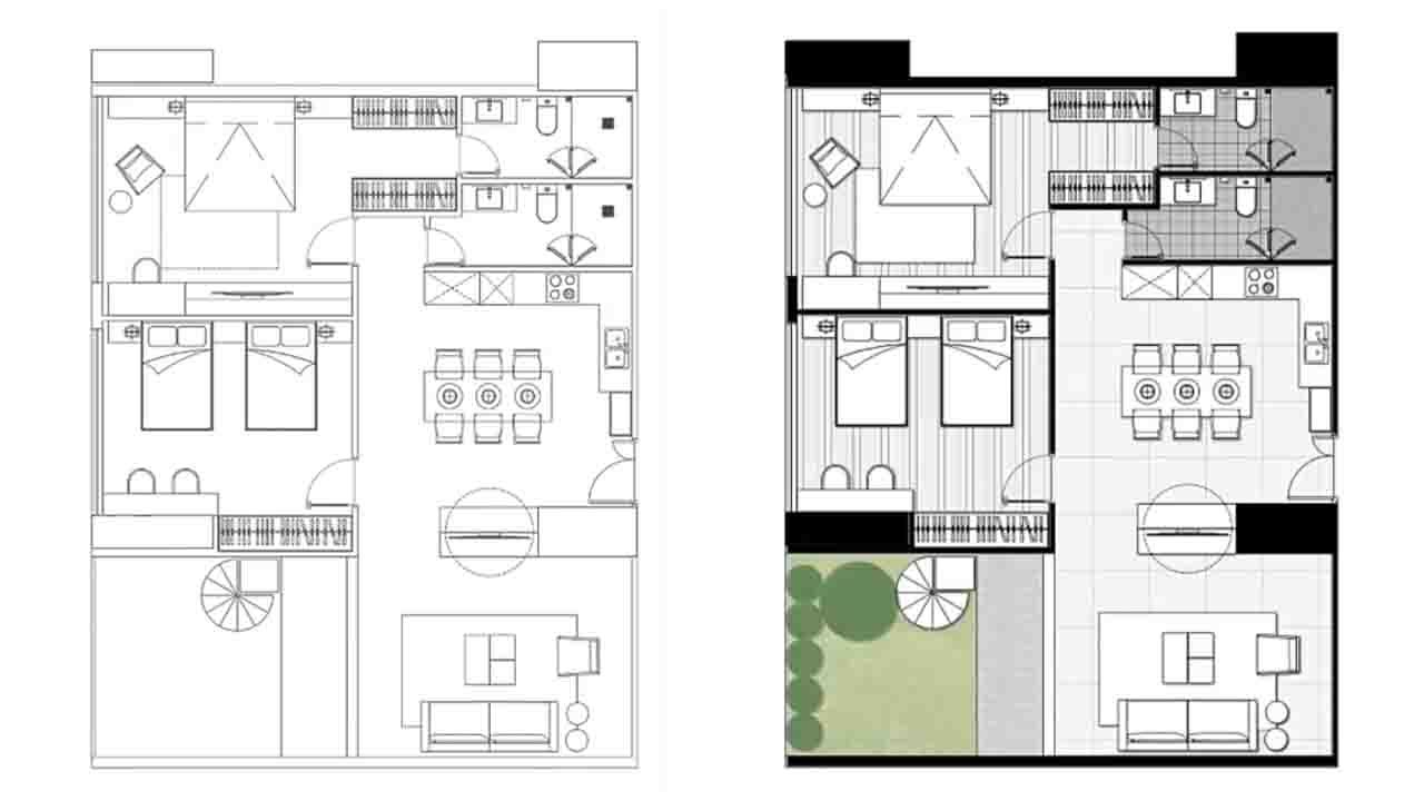 Architecture plan render by photoshop simple style part for Home plan architect