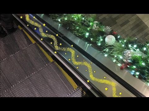 Schindler Single File Escalators With Christmas Decorations At Galleria Mall In Houston TX