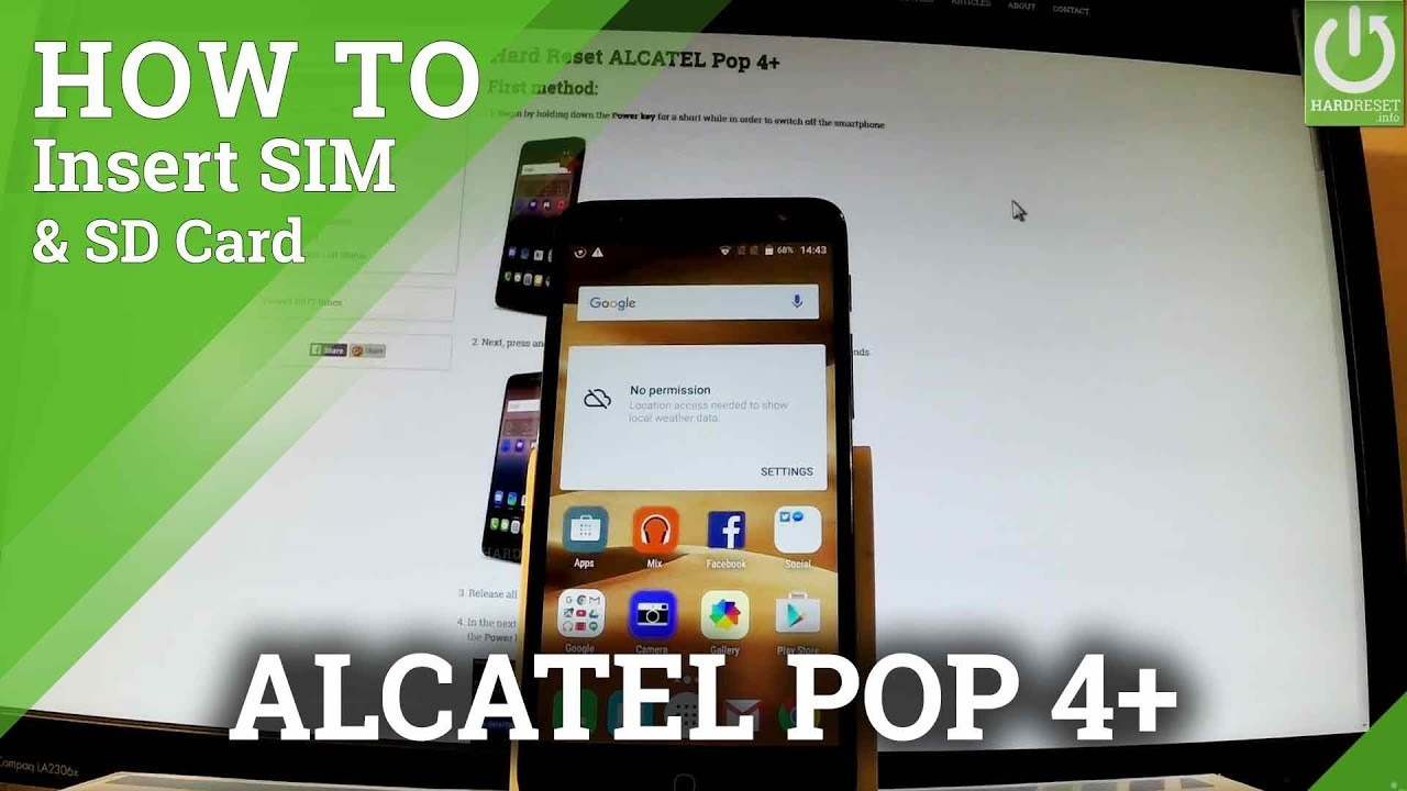 How to Insert SIM and SD Card in ALCATEL Pop 4+ - Set Up SIM & SD