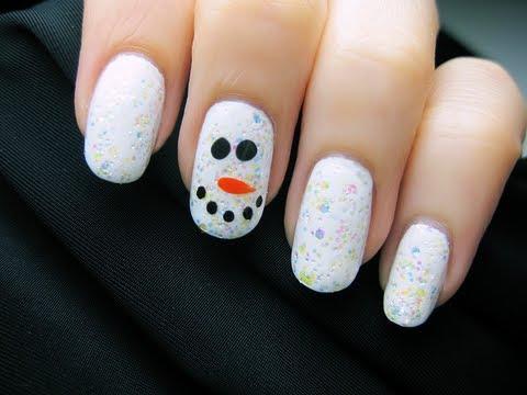 easy snowman nail art