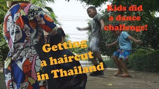 Getting a Haircut in Thailand | Fortnite Dance Challenge with Kids