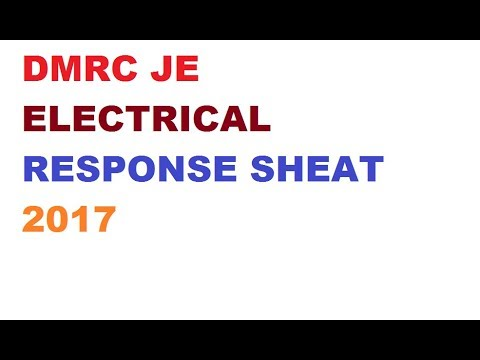 DMRC ELECTRICAL JE RESPONSE SHEAT 2017