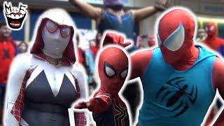 SPIDER-VERSE TAKES OVER COMIC CON!! IRL Spider-Man Flash Mob Prank!!