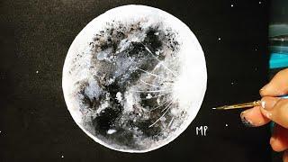 LUNA CON ACRÍLICO ( Como pintar una luna ) - PASO A PASO