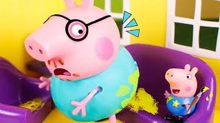 Peppa Pig Toys 🐷 George pranks Daddy Pig 😄🎨