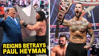 Roman Reigns Betrays Paul Heyman CM Punk Winning WWE Title From Drew McIntyre WWE News
