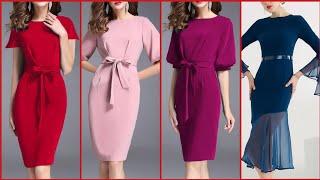 Gorgeous Fabulous And Elegant Stylish Plain Bodycon /Sheath Dresses With Belt