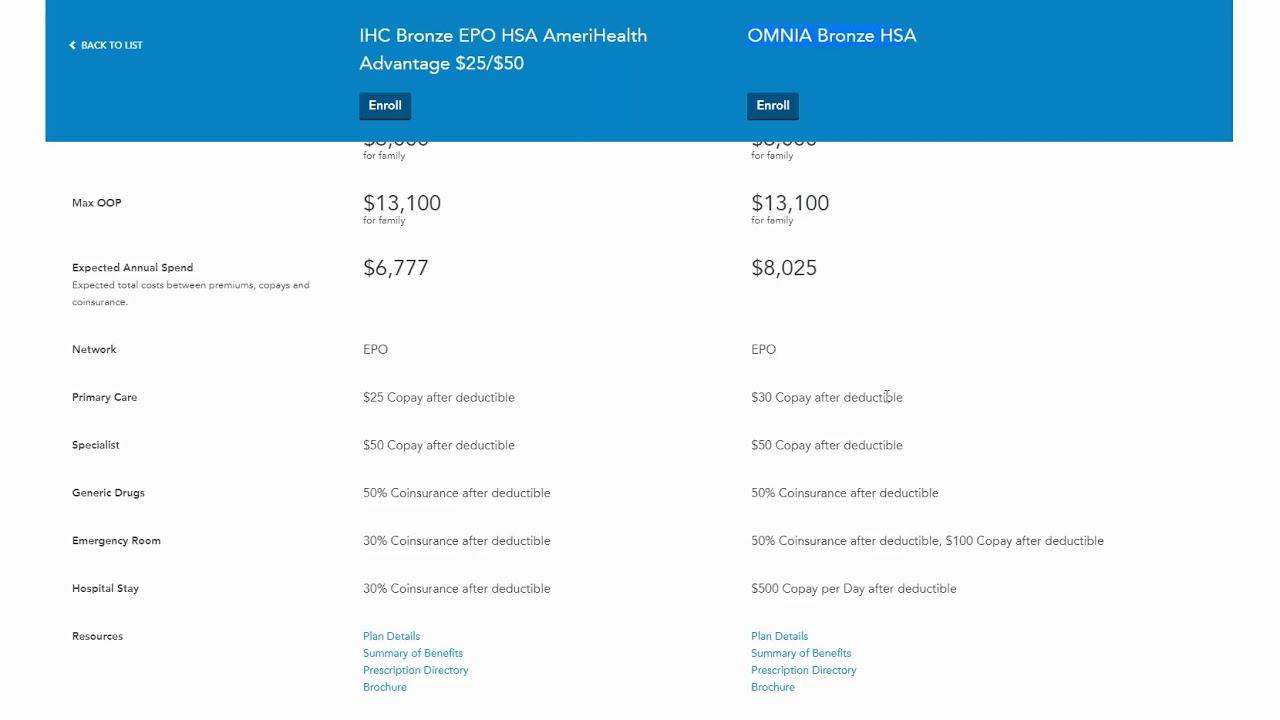 Amerihealth Bronze HSA vs Horizon BCBS Omnia Bronze HSA
