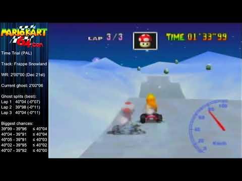 "MK64 - World Record on Frappe Snowland - 1'59""95 (NTSC: 1'39""76) by Matthias Rustemeyer"