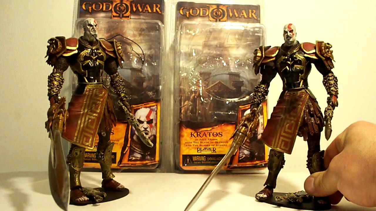 NECA GOD OF WAR 2 KRATOS ARES ARMOR CLOSED & OPEN MOUTH VARIANT COMPARISON  ACTION FIGURE TOY REVIEW