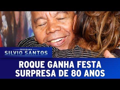 Roque ganha festa surpresa de 80 anos no SBT e fica muito emocionado