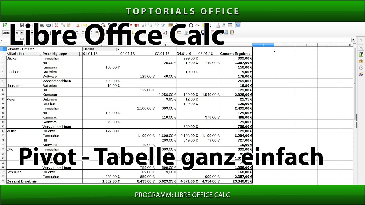 Pivot Tabelle Ganz Einfach Erstellen Libreoffice Calc Pivottabelle Pivottable