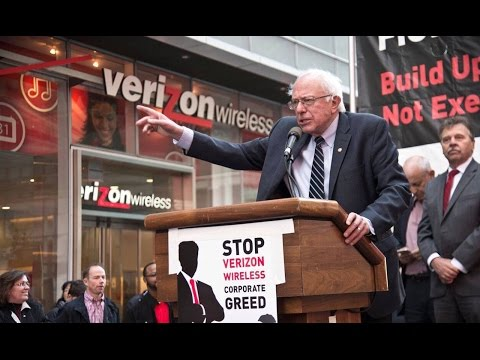 Bernie Sanders Stands With Striking Verizon Workers