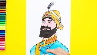 How to draw and color Guru Gobind Singh Ji - Tenth Guru of Sikhs