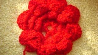 Урок 19. Осенний цветок. 3 ряд. Вязание крючком